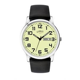 Limit Mens Silver Glow Day Faux Leather Black Strap Watch Best Price, Cheapest Prices