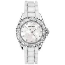 Sekonda Ladies' White Stone Set Silicone Strap Watch Best Price, Cheapest Prices