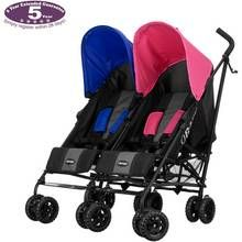 Obaby Apollo Black and Grey Twin Stroller - Pink & Blue