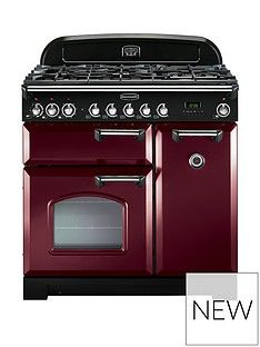 Rangemaster  CDL90DFFCY Classic Deluxe 90cm Wide Dual Fuel Range Cooker - Cranberry Best Price, Cheapest Prices