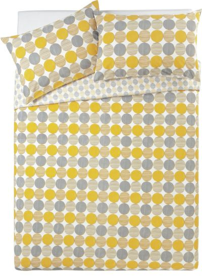 Argos Home Mustard and Grey Circles Bedding Set - Kingsize Best Price, Cheapest Prices
