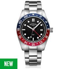 Rotary Black Dial Mens Stainless Steel Watch