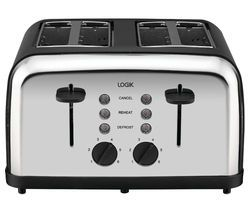 LOGIK L04TBK14 4-slice Toaster - Black & Silver Best Price, Cheapest Prices