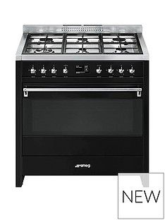 Smeg A1BL-9 90cm Wide Opera Gloss Black Single Cavity Dual Fuel Range Cooker Best Price, Cheapest Prices