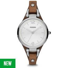 Fossil Georgia Ladies' ES3060 Brown Leather Strap Watch Best Price, Cheapest Prices