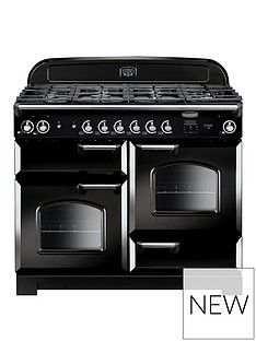 Rangemaster  CLA110DFFBL Classic Deluxe 110cm Wide Dual Fuel Range Cooker - Black Best Price, Cheapest Prices