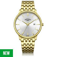 Rotary Men's Gold Plated Stainless Steel Bracelet Watch Best Price, Cheapest Prices
