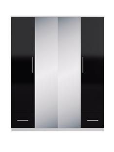 Cologne Gloss 4-Door Mirrored Wardrobe Best Price, Cheapest Prices