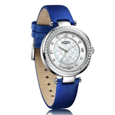 Rotary Ladies Royal Blue Satin Strap Watch Best Price, Cheapest Prices