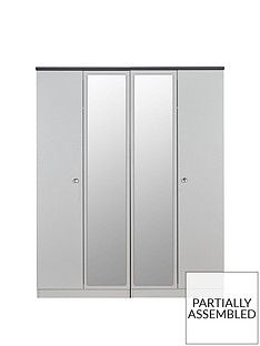 SWIFT Napoli Ready Assembled 4 Door Mirrored Wardrobe Best Price, Cheapest Prices