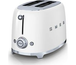 SMEG 50's Retro TSF01WHUK 2-Slice Toaster - White Best Price, Cheapest Prices