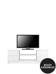 Ideal Home Bilbao Ready Assembled High Gloss Large Tv Unit - White - Fits Up To 65 Inch Tv Best Price, Cheapest Prices