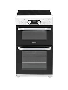 Hotpoint HD5V93CCW 50cm Wide Electric Double Oven Cooker - White Best Price, Cheapest Prices