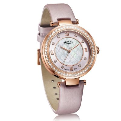 Rotary Ladies Rose Golds Blush Satin Strap Watch Best Price, Cheapest Prices