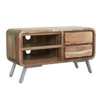 Aspen Retro Two Tone Solid Wood TV Unitwith Open Shelves & Drawers - TV's up to 53