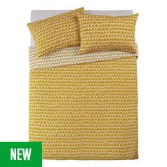 Argos Home Mustard Squiggle Bedding Set - Double Best Price, Cheapest Prices