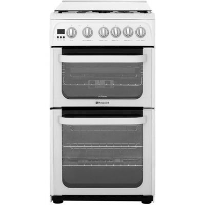Hotpoint Ultima HUG52P 50cm Gas Cooker with Full Width Gas Grill - White - A+/A Rated Best Price, Cheapest Prices