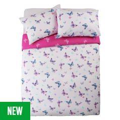 Argos Home Reverse Pink Butterfly Bedding Set - Double Best Price, Cheapest Prices