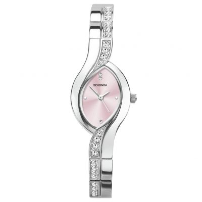 Sekonda Ladies Silver Coloured Oval Twist Bracelet Watch Best Price, Cheapest Prices
