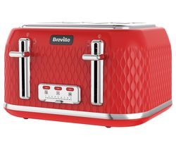 BREVILLE Curve VTT914 4-Slice Toaster - Red Best Price, Cheapest Prices
