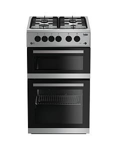 Beko KDG582S 50cm Twin Cavity Gas Cooker - Silver Best Price, Cheapest Prices
