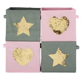 Argos Home Set of 4 Stars Canvas Boxes Best Price, Cheapest Prices