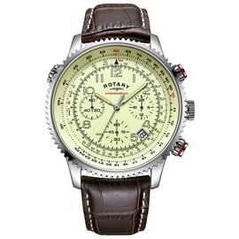 Rotary Men's Brown Leather Strap Chronograph Watch Best Price, Cheapest Prices