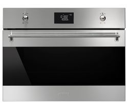 SMEG SF4390MCX Built-in Combination Microwave - Stainless Steel & Black Glass Best Price, Cheapest Prices
