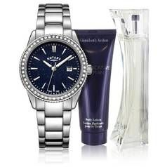 Rotary Ladies' Blue Aventurine Effect Watch and Perfume Set Best Price, Cheapest Prices
