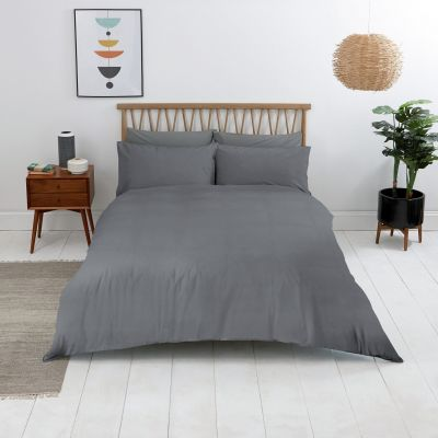 Sainsbury's Home Washed Cotton Grey Bedding Set - Double Best Price, Cheapest Prices