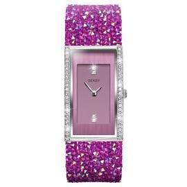 Seksy by Sekonda Ladies Pink Crystal Leather Strap Watch Best Price, Cheapest Prices