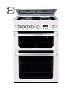 Hotpoint Ultima HUG61P 60cm Double Oven Gas Cooker with FSD - White Best Price, Cheapest Prices