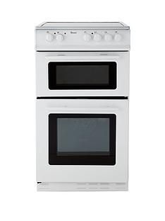 Swan SX2021W 50cm Wide Ceramic Twin Cavity Freestanding Electric Cooker - White Best Price, Cheapest Prices