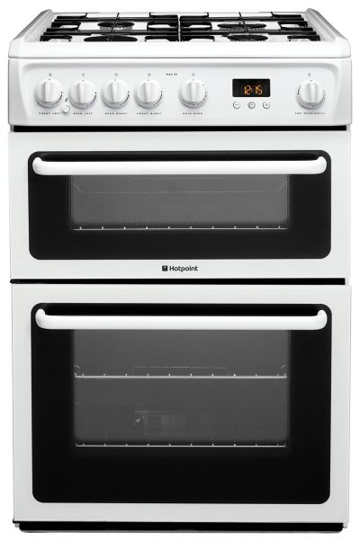 Hotpoint HAG60P 60cm Double Oven Gas Cooker - White Best Price, Cheapest Prices