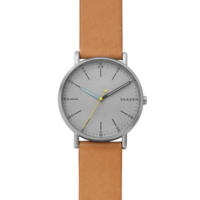 Skagen Men's Brown Leather Strap Watch Best Price, Cheapest Prices
