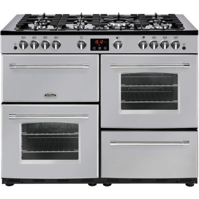 Belling Farmhouse110GT 110cm Gas Range Cooker - Silver - A/A Rated Best Price, Cheapest Prices