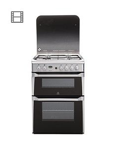 Indesit ID60G2X 60cm Double Oven Gas Cooker with FSD - Stainless Steel Best Price, Cheapest Prices