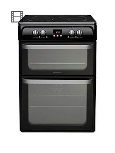 Hotpoint Ultima HUI614K 60cm Double Oven Electric Cooker with Induction Hob - Black Best Price, Cheapest Prices