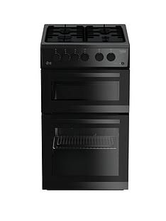 Beko KDG582K 50cm Wide Twin Cavity Gas Cooker - Black Best Price, Cheapest Prices