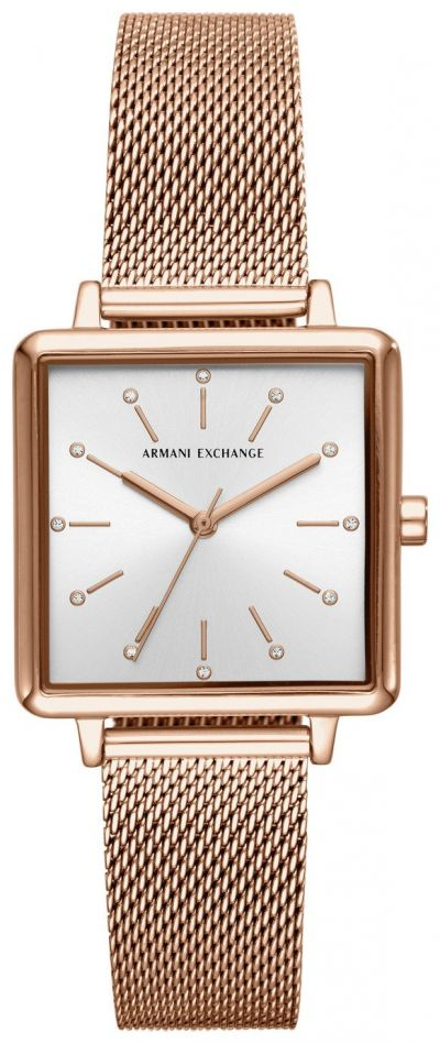 Armani Exchange Ladies Rose Gold Mesh Bracelet Best Price, Cheapest Prices