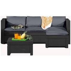 Keter Oxford Rattan Effect Outdoor Corner Sofa - Graphite Best Price, Cheapest Prices