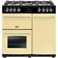 Belling Farmhouse 90GT 90cm Gas Range Cooker with Tall Electric Fan Oven Cream Best Price, Cheapest Prices