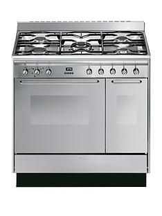Smeg CC92MX9 90cm Dual Fuel Double Oven Range Cooker with Gas Hob Best Price, Cheapest Prices