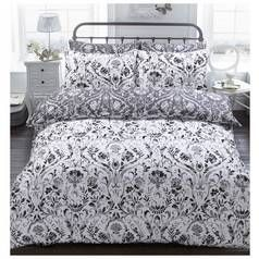 Argos Home Monochrome Painted Damask Bedding Set - Double Best Price, Cheapest Prices