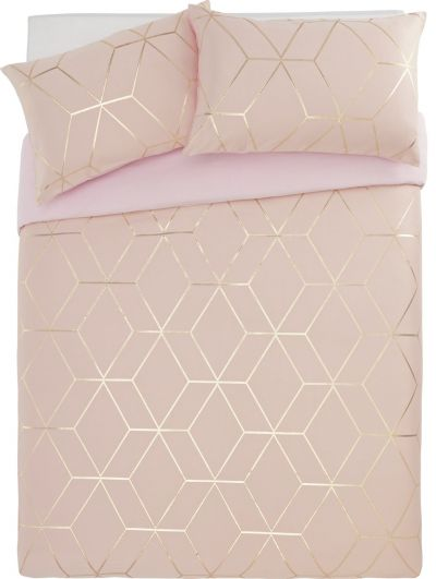 Argos Home Blush Jacquard Geo Bedding Set - Superking Best Price, Cheapest Prices