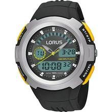 Lorus Men's Black Resin Strap Dual Time Watch Best Price, Cheapest Prices