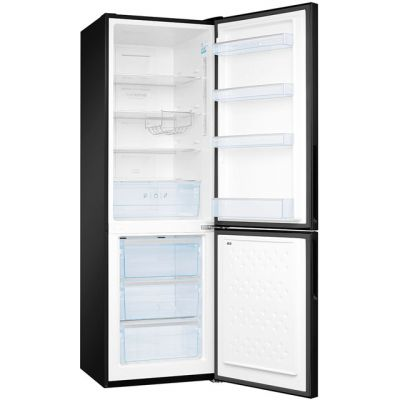 Amica FK3216GBDF 70/30 Frost Free Fridge Freezer - Black Glass - A+ Rated Best Price, Cheapest Prices