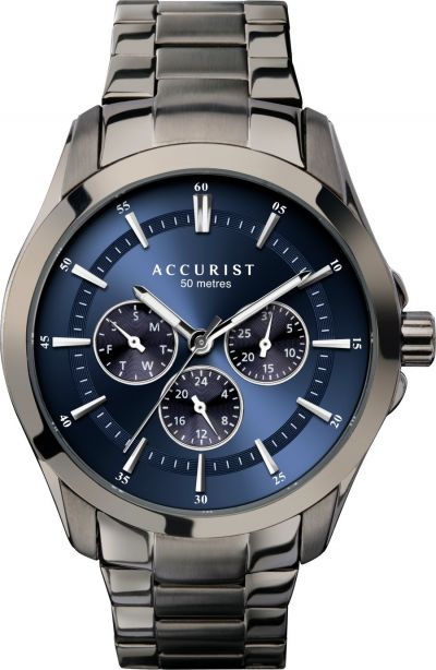Accurist Men's Gunmetal Stainless Steel Bracelet Watch Best Price, Cheapest Prices