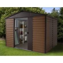 Woodgrain Shiplap Metal Shed - 10ft x 8ft