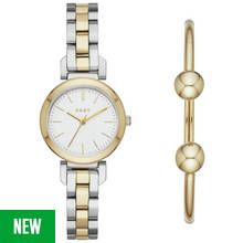 DKNY Ladies' Ellington NY2678 Gold Tone Watch and Bangle Set Best Price, Cheapest Prices